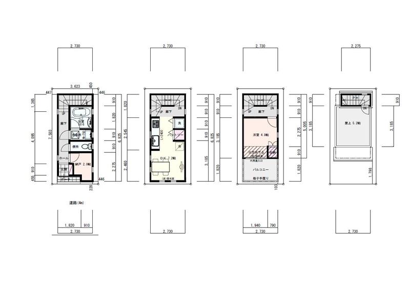 敷地8坪の間取り2LDK以下の狭小住宅:東京都内の間取り検索 ...